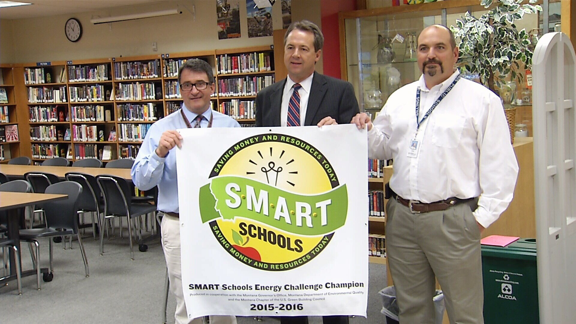 From left, Dennis Holmes, Principal, Billings Senior High,  Gov. Steve Bullock, Billings Public Schools Facilities Director, Scott Reiter (MTN News photo)