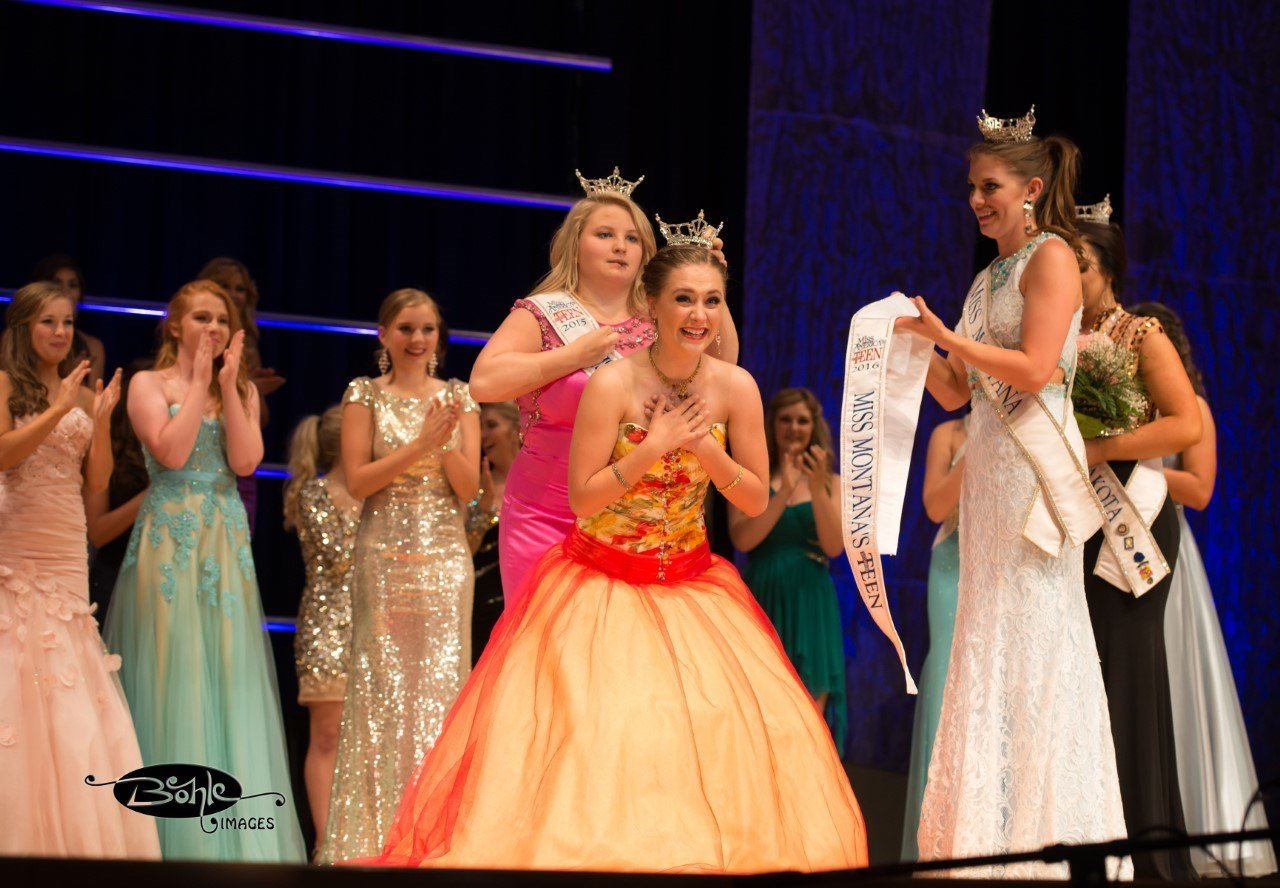 Faith Johnson of Helena is crowned Miss Montana's Outstanding Teen 2016  Friday night by the reigning Outstanding Teen Katee Orr of Missoula.