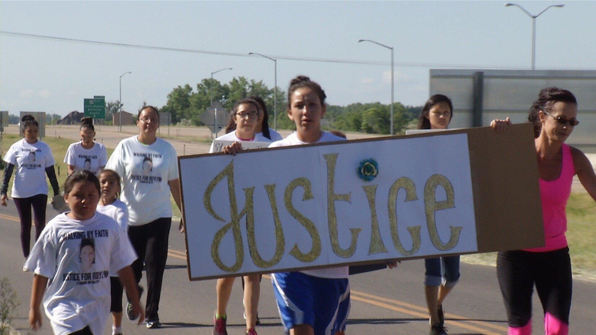 "The ""Walking by Faith"" march began two miles out of Crow Agency on Hwy 212 and concluded at a park."
