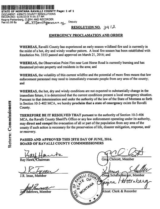 Emergency proclamation and order for Ravalli County (MTN News photo)