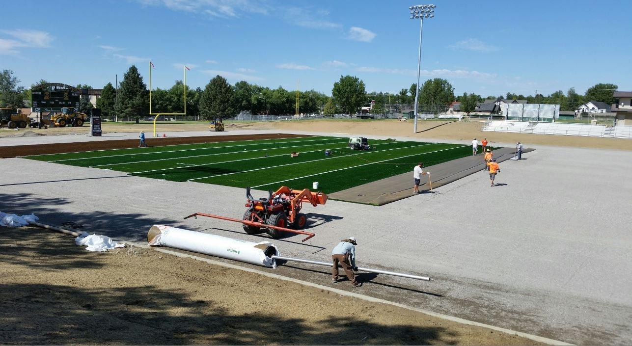 The football field at Rocky got a whole new look today. (MTN News/Rob Monaco photo)
