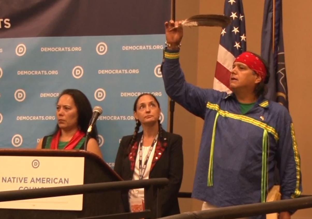The conversation at the caucus as with the Native American Council. (MTN News)