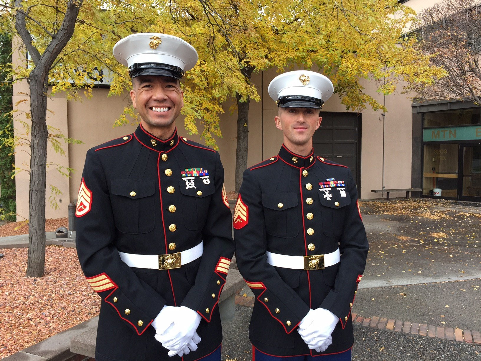 Staff Sgt. Peter Funnell and Sgt. Bryce Ray ready to help Toys for Tots
