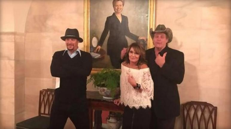 Sarah Palin, Ted Nugent and Kid Rock visit the White House on April 19, 2017. / SARAH PALIN'S FACEBOOK PAGE