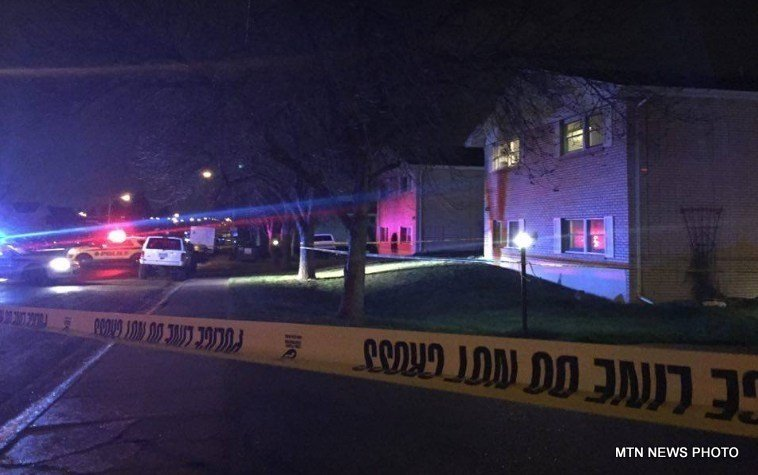 Crime scene tape at apartment building in Great Falls on April 20, 2017