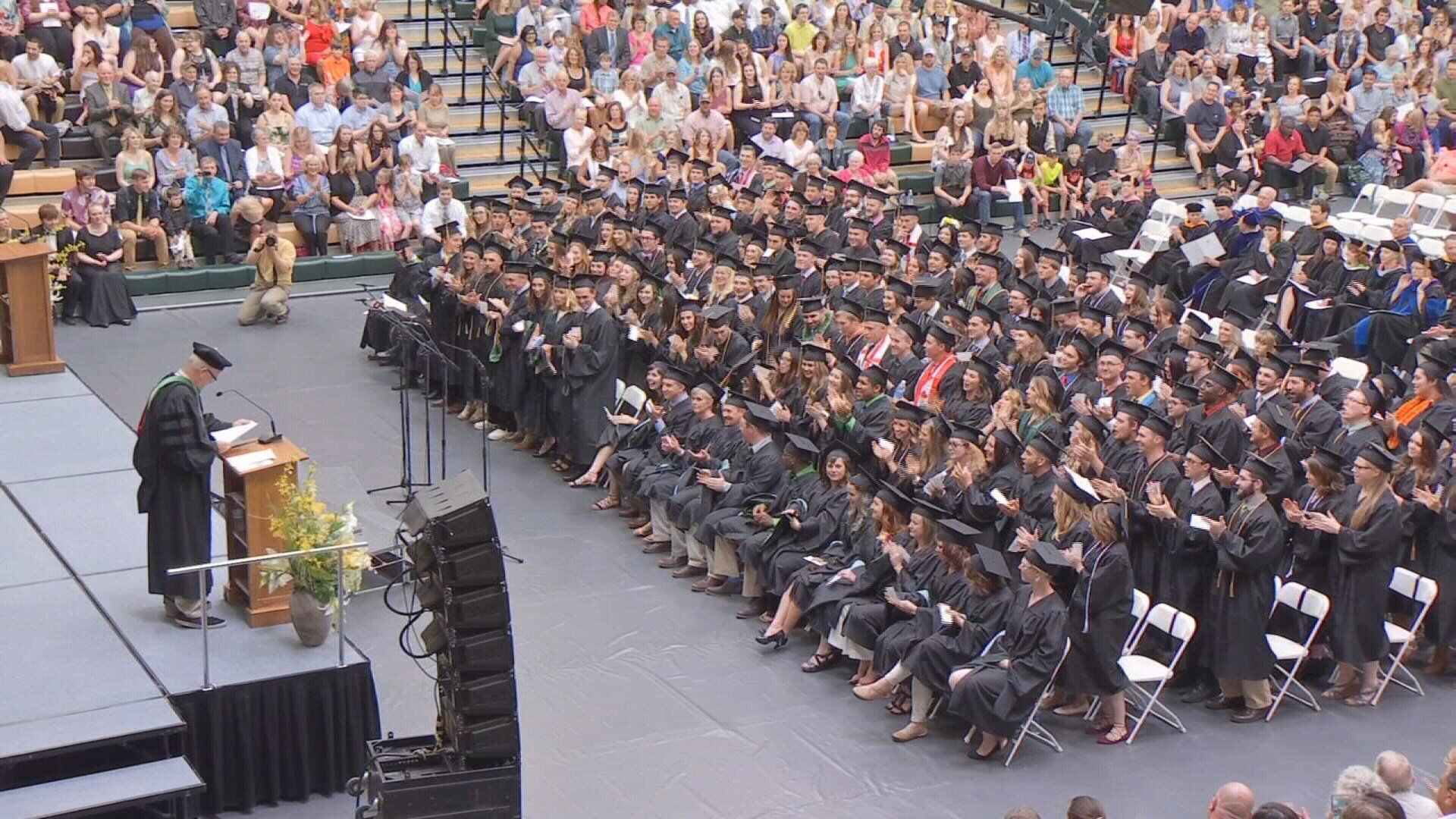 Graduates cheer for Rocky president, Dr. Bob Wilmouth during 135th commencement ceremony.