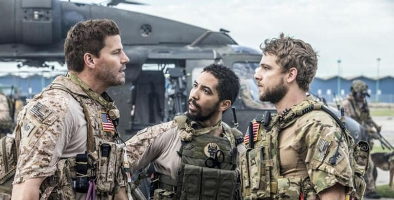"David Boreanaz, Neil Brown, Jr. and Max Thieriot star in ""Seal Team,"" a new military drama chronicling the personal and professional lives of the most elite Navy SEALs unit.   CREDIT: Skip Bolen/CBS"