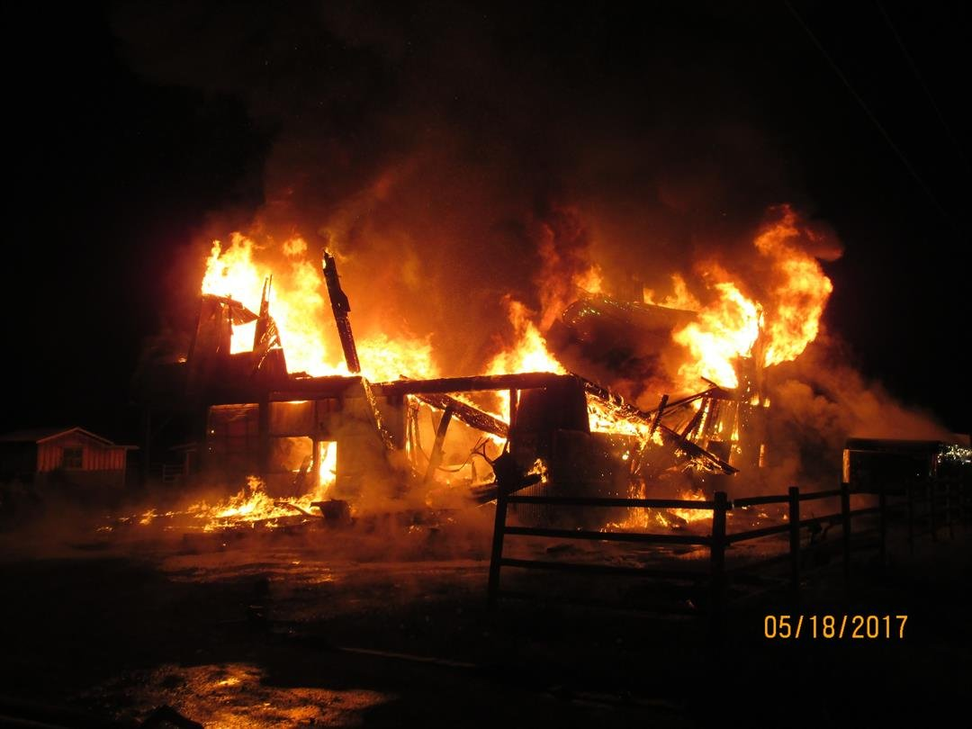 The metal shop was completely destroyed (Livingston Fire Department)