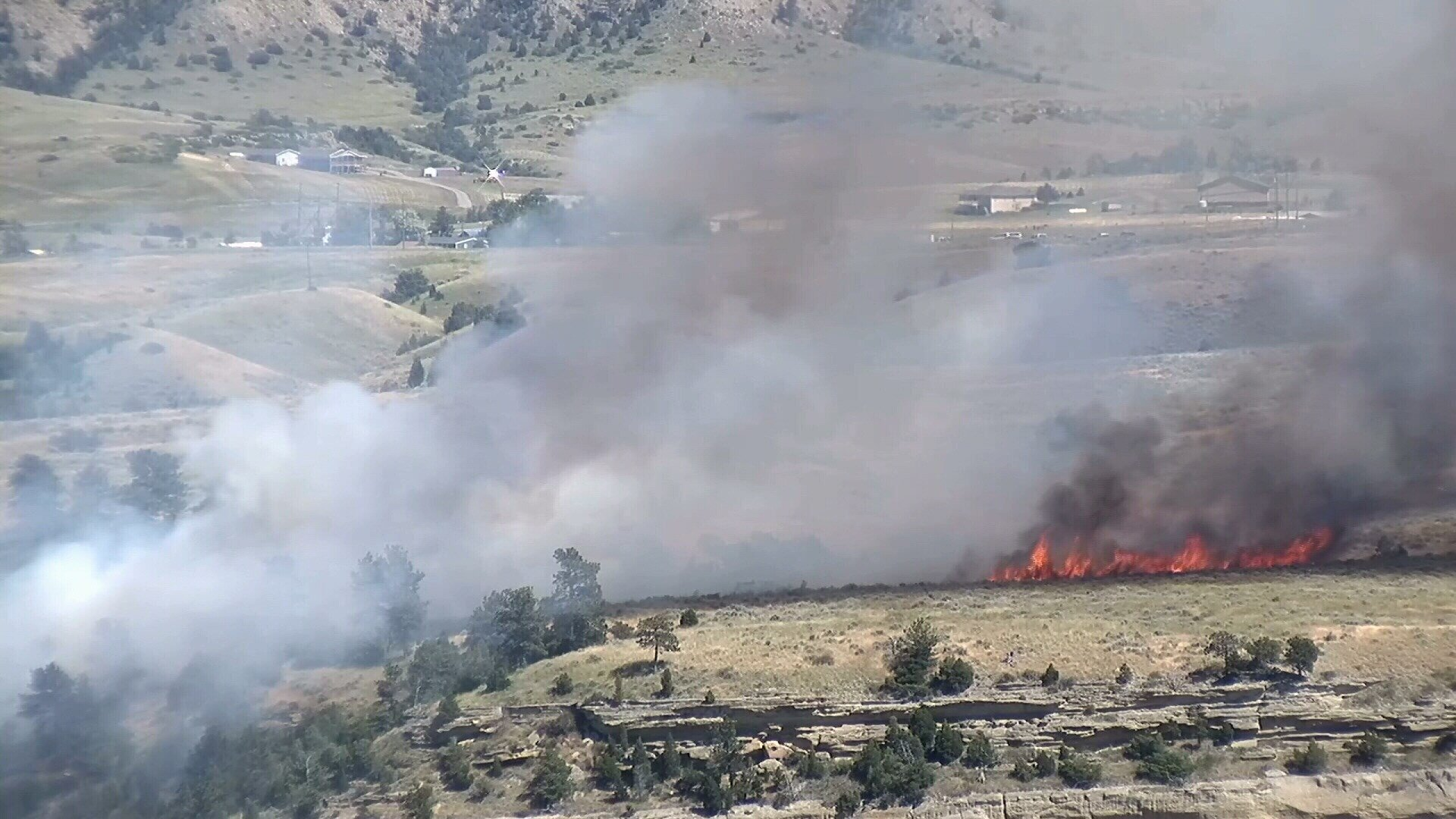 This fire burned Tuesday afternoon near Lockwood. (MTN News photo)