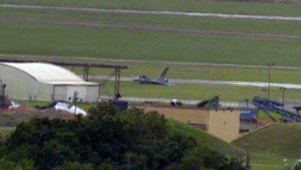 An F-16 fighter jet crashed while taking off from Ellington Field in Houston. (KHOU-TV)