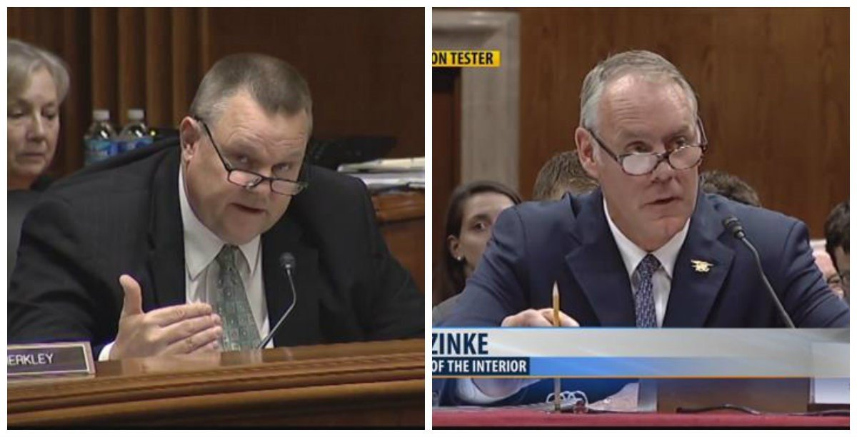 """Tester asked Zinke how he and Trump can put forth a budget that """"lacks vision"""" by cutting the program that much."""