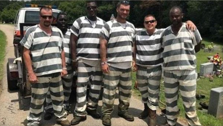 The six Georgia inmates who chose to save a guard's life, rather than fleeing. (Courtesy of Polk County Sheriff's Office)