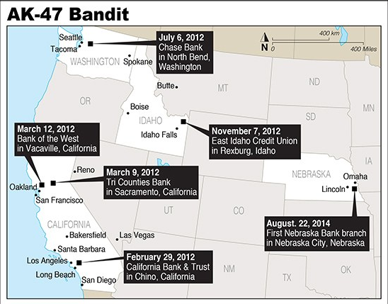 FBI map of the AK 47 Bandit's robbery locations (FBI)