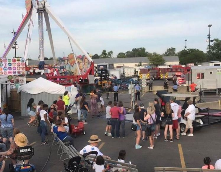The scene at Ohio State Fair where one person died after a ride malfunction on Wed., July 26, 2017. @ONTHELAMM/TWITTER
