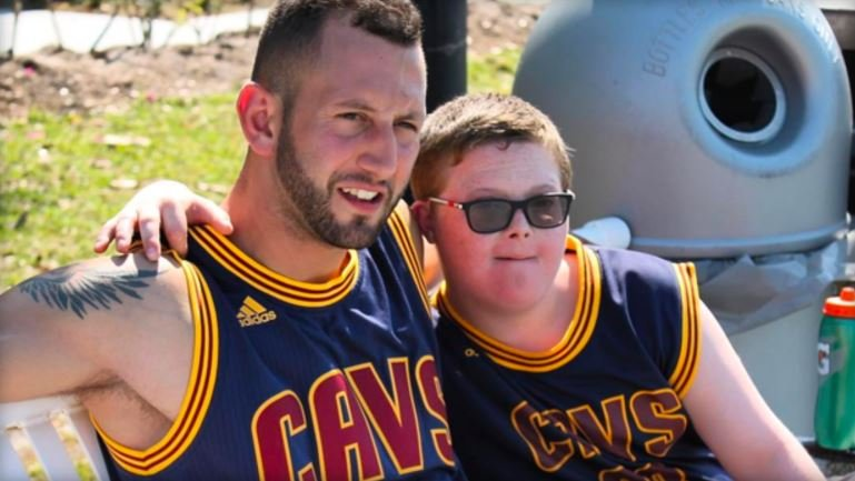 Sammy Callari and his client, 13-year-old Parker Seward, pose with matching LeBron James jerseys -- their favorite player.  (INSTAGRAM/@SAMMYCALLARI)