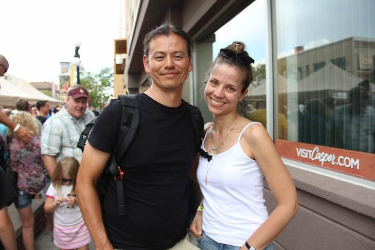 Swedish tourists Johan Hast and Leona Rohrbeck flew into Denver Friday and drove up to Casper. (Ed Kemmick/Last Best News)