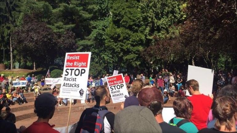 Scenes from dueling protests in downtown Portland, Vancouver on Sunday