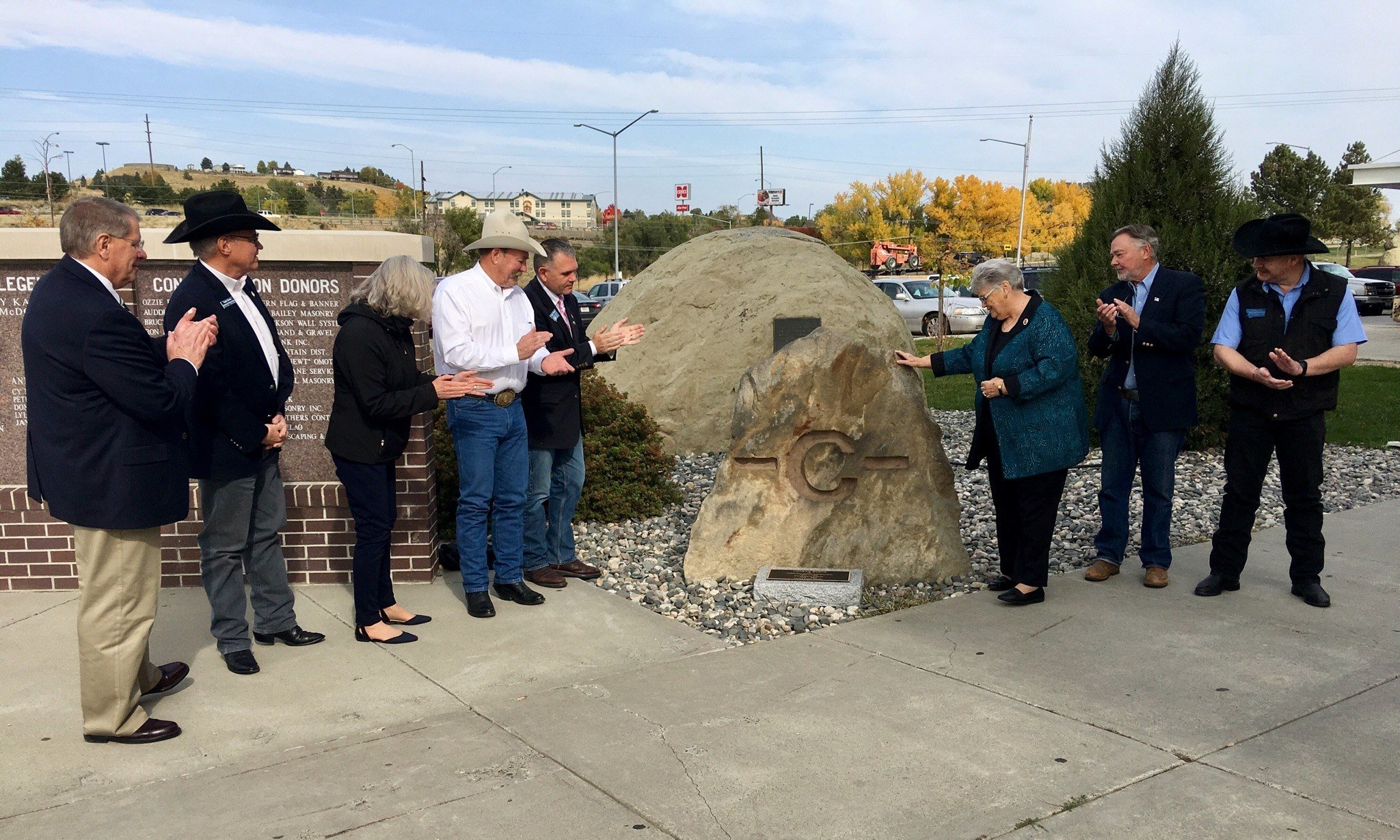 The rock has the brand Conrad Burns used for livestock. (MTN News Photo)