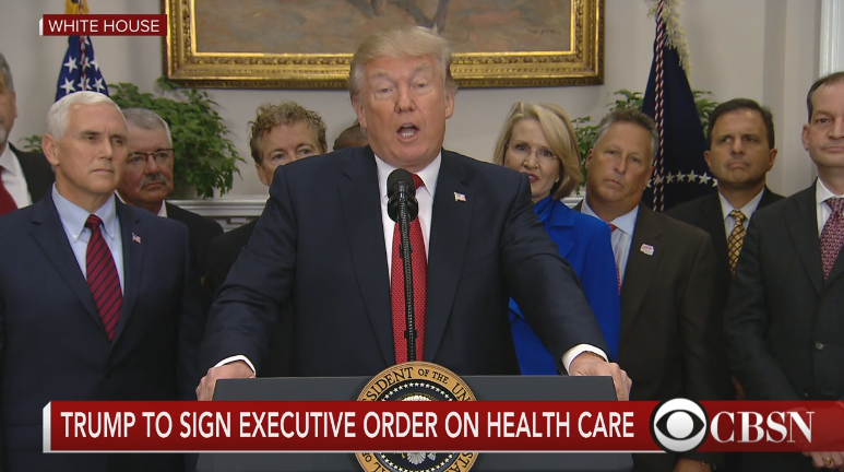 President Trump at his health care executive order signing. courtesy of CBS.