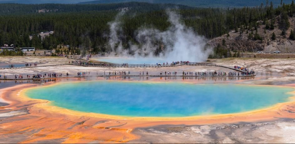 Grand Prismatic Spring Panorama  (NPS / Jacob W. Frank)