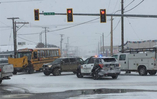 Law enforcement responds to a multi vehicle crash at the intersection of 1st Avenue N and N 13th St Monday morning. (Photo courtesy of Derek Riddle)