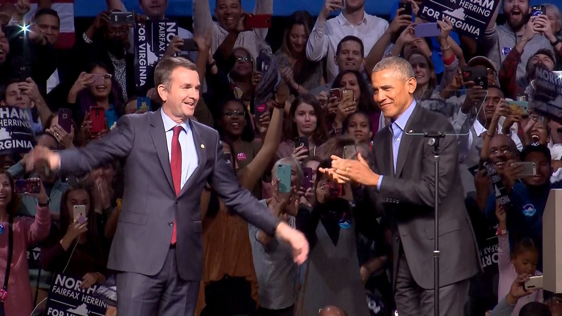 Ralph Northam, pictured at a rally with former President Barack Obama, was projected winner of the Virginia gubernatorial race. courtesy of CNN.