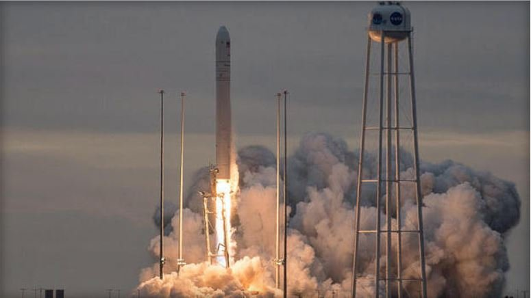 An Orbital ATK Antares rocket climbs away from the Mid-Atlantic Regional Spaceport -- MARS -- at NASA's Wallops Island, Va., flight facility carrying 3.7 tons of supplies and equipment bound for the International Space Station. (NASA)