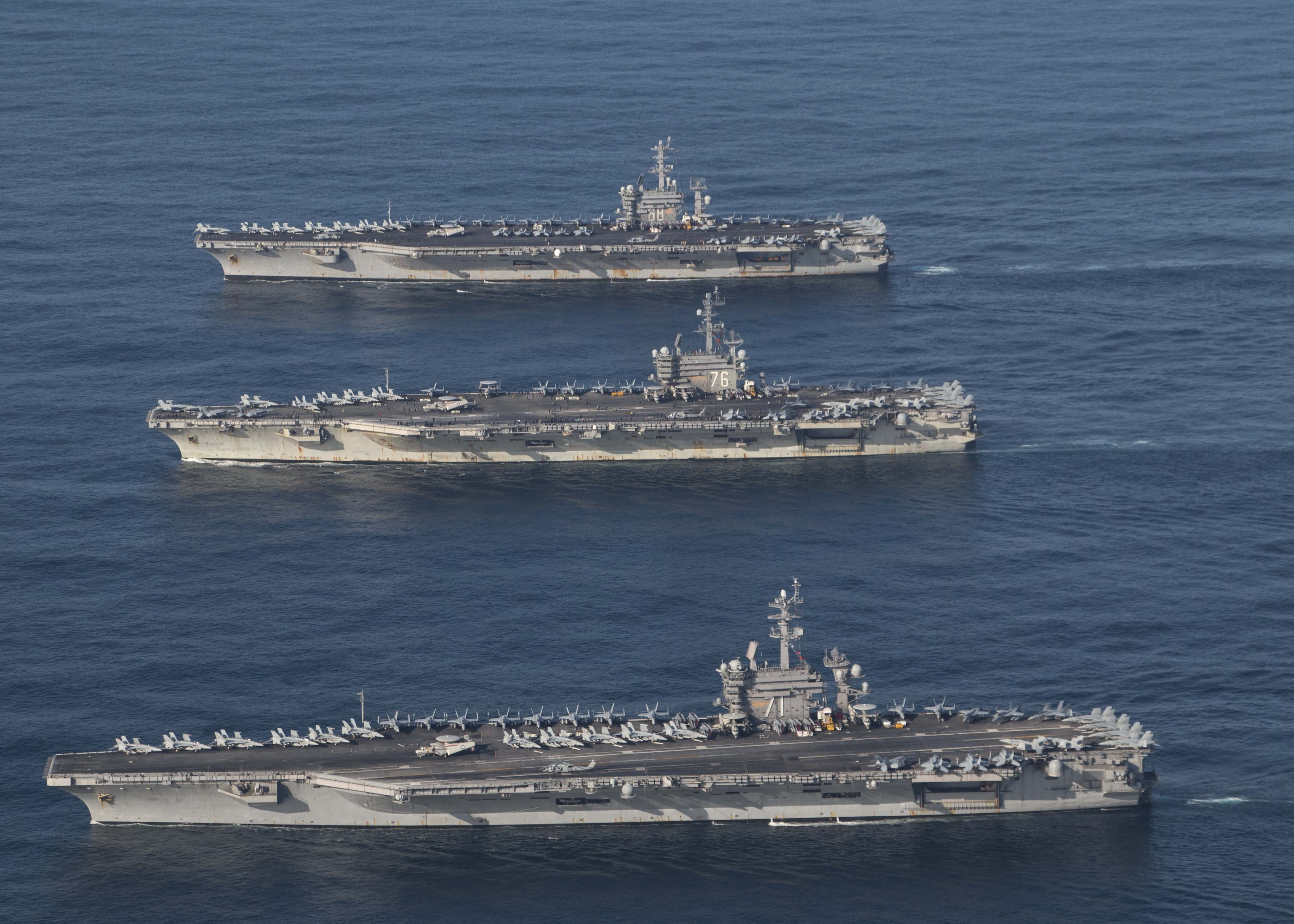 The aircraft carriers USS Ronald Reagan (CVN 76), USS Theodore Roosevelt (CVN 71) and USS Nimitz (CVN 68) and their strike groups conduct operations in the Pacific. courtesy U.S. Navy.