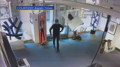 The thief was captured on video. courtesy of Aspen Times and CBS4 of Denver.