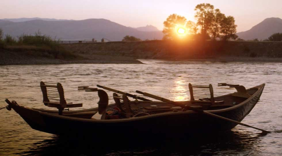 A Cajune boat on the banks of the Yellowstone River.