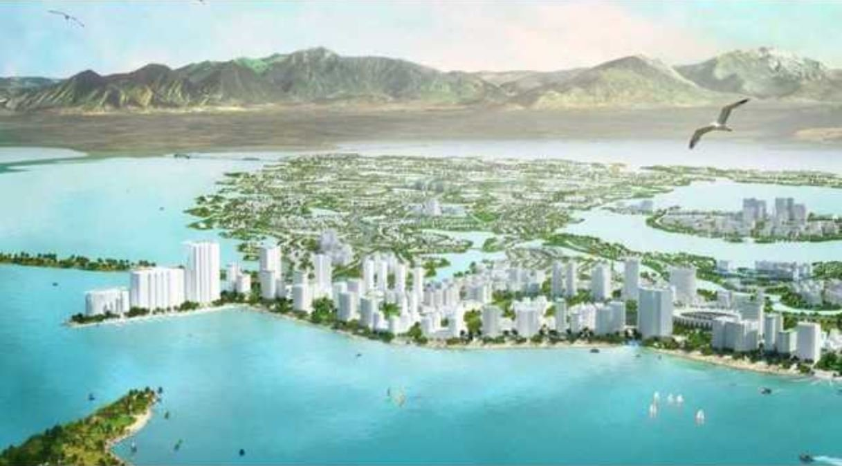 Artist rendering of proposed island city in Utah Lake. (Courtesy: Arches Utah Lake Restoration)