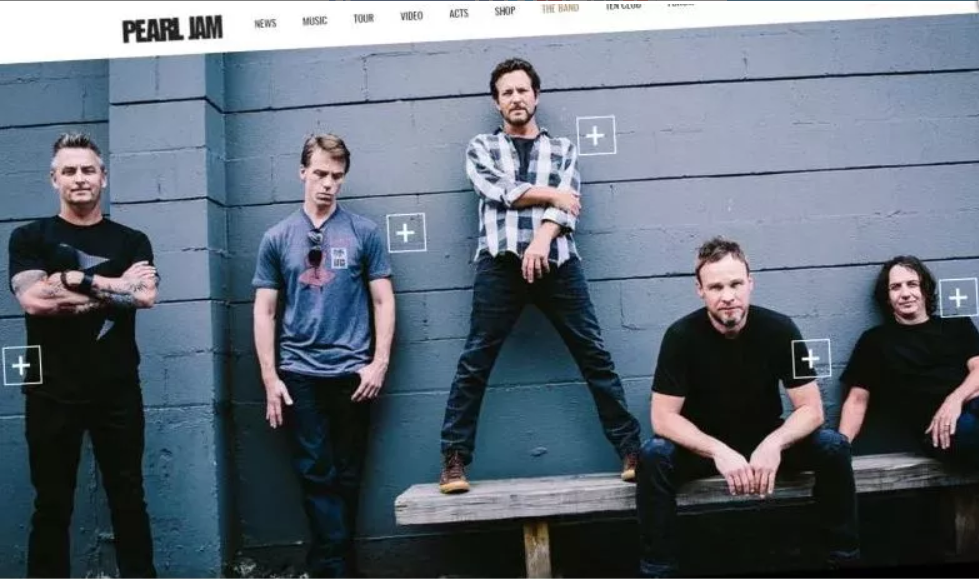 Screenshot of the Pearl Jam website