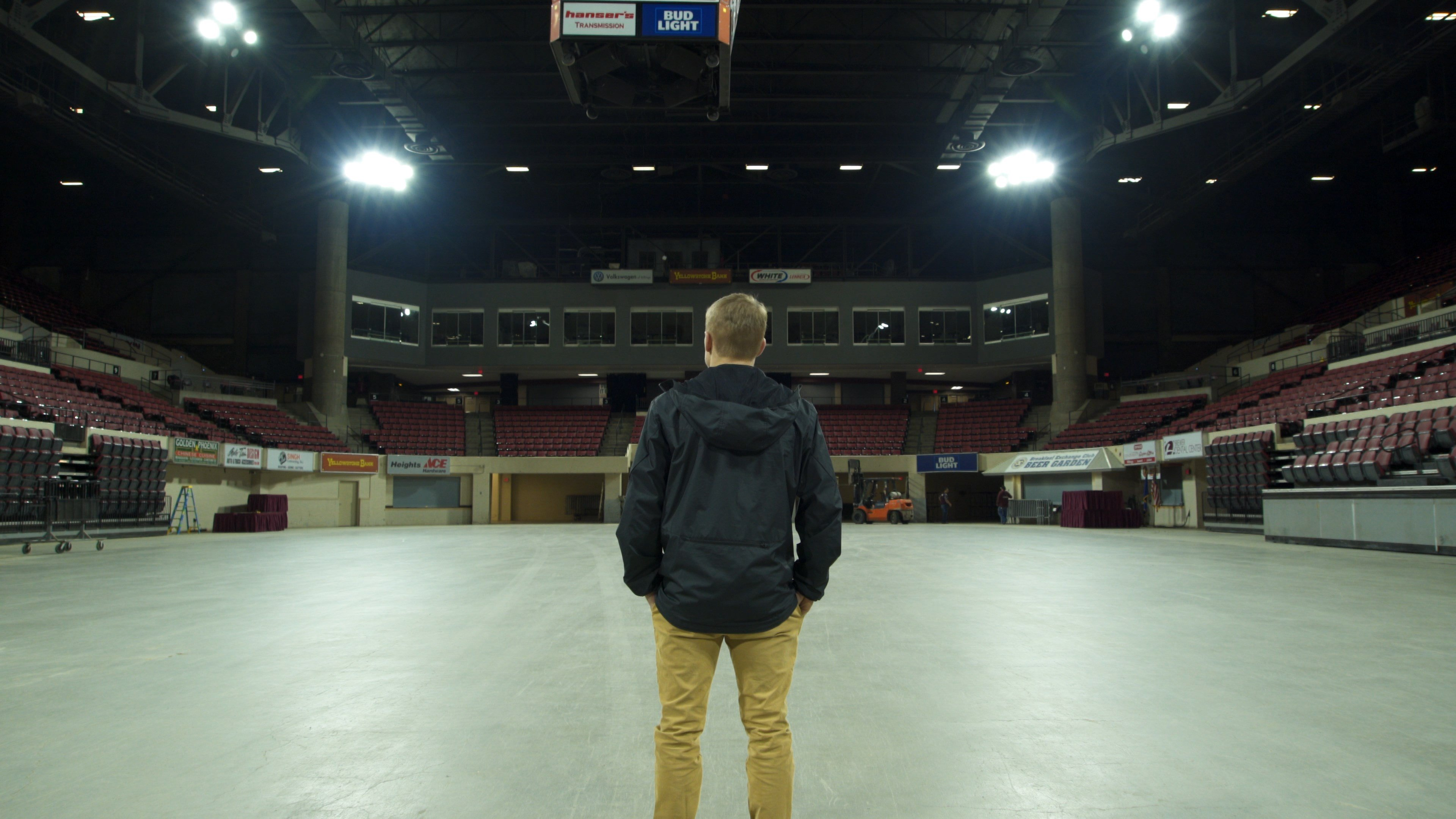 Klepps stands in an empty Rimrock Auto Area following the state wrestling tournament (MTN News/Brandon Sullivan Photo)