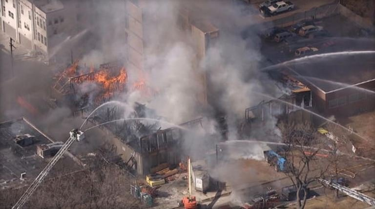 Aerial view of a fire that broke out in downtown Denver on Wed., March 7, 2018. / CBS DENVER