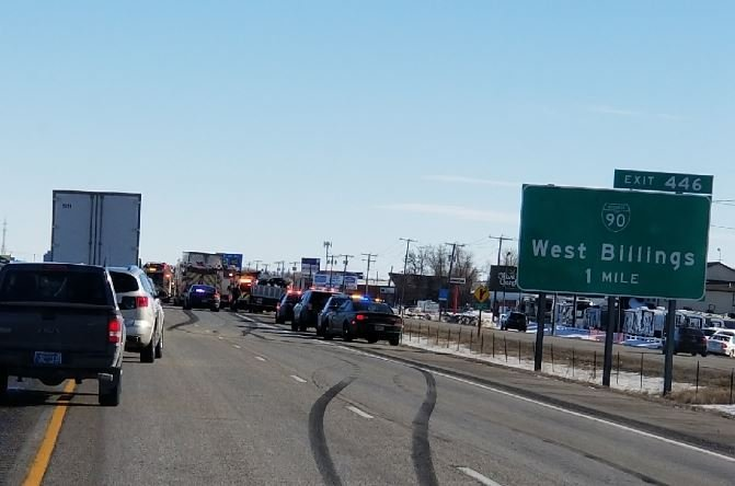 A crash on I-90 between Larel and Billings has slowed traffic. (Photos courtesy of Kevin Rinnert)