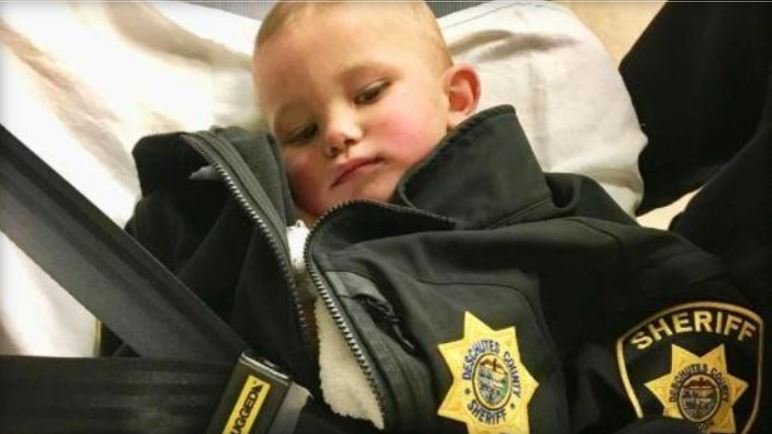 One-year-old Bradley Michael Thomas was found by sheriff's officials in central Oregon woods after his father, allegedly on drugs, abandoned him Thursday / DESCHUTES COUNTY