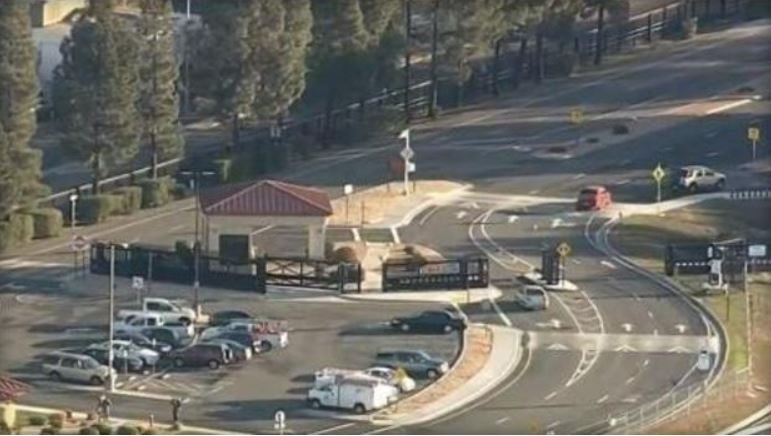 An aerial view shows the entrance to Travis Air Force Base, northeast of Sacramento, California.  CBS SACRAMENTO