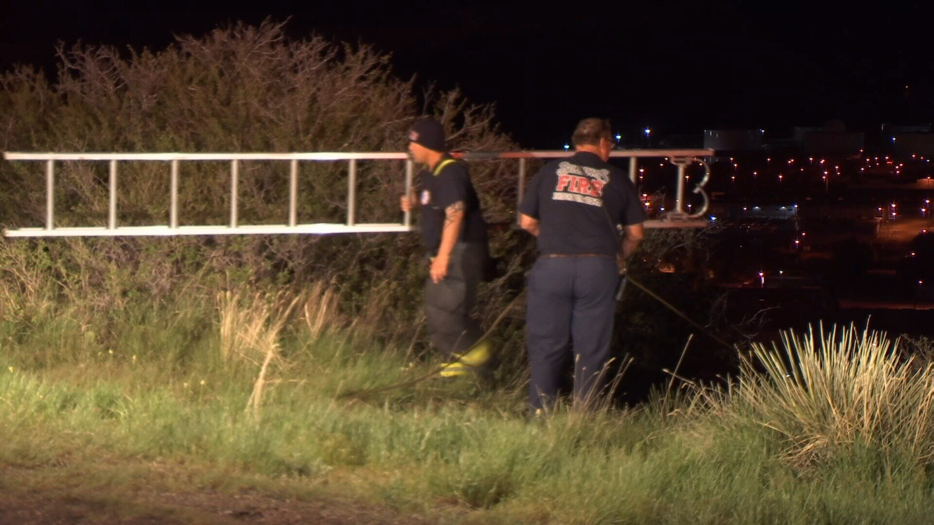 Billings firefighters used a ladder to pull a female from the Rims Wednesday night. David Jay/ Q2 News