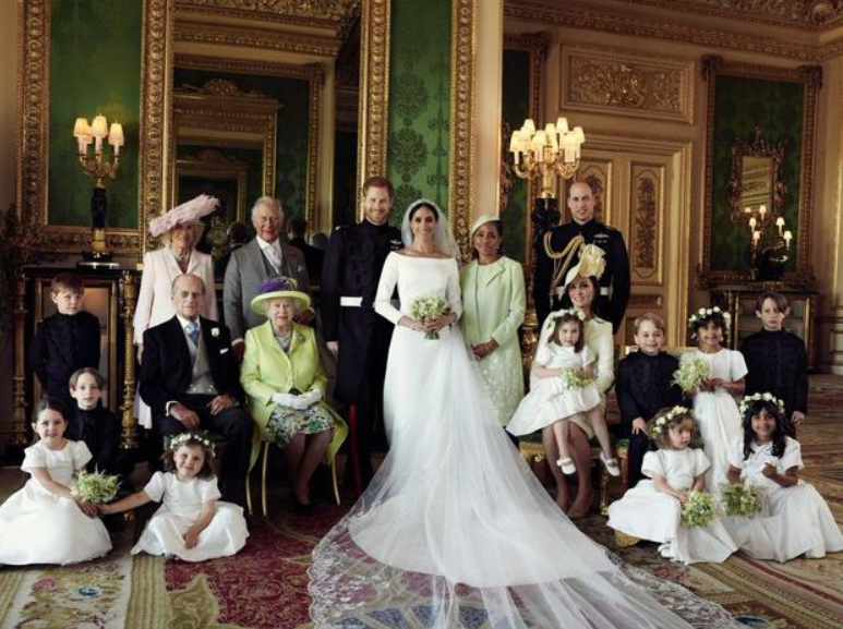 An official portrait photo from the wedding of the now Duke and Duchess of Sussex.