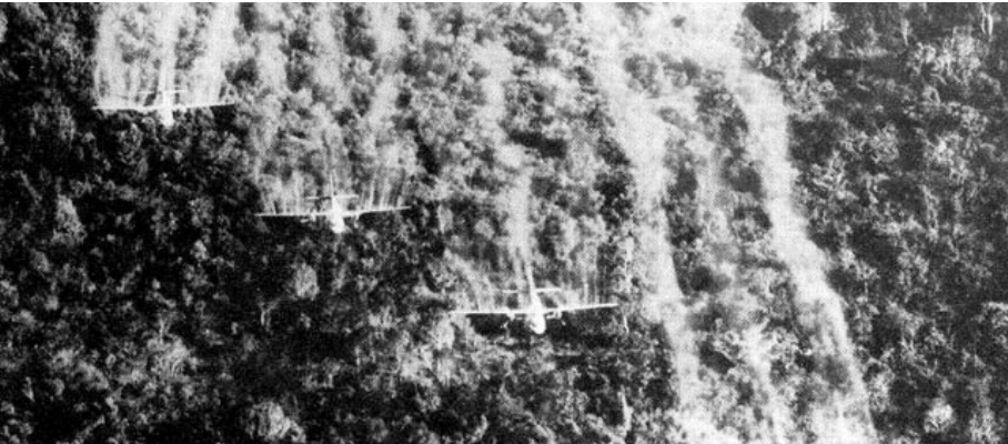 Planes dropping Agent Orange over Vietnam. courtesy of Department of Veterans Affairs.