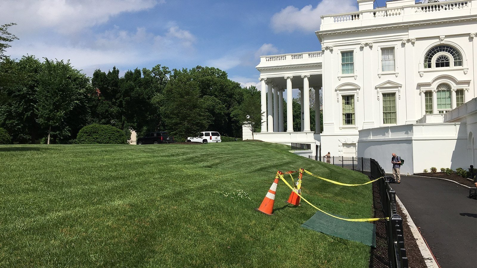 Eyewitnesses first saw the sinkhole on the grassy North Lawn on Saturday, following a week of nearly constant rain in Washington. CNN photo.
