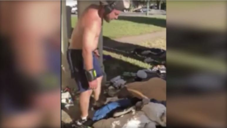 """An Oakland, California man dubbed """"Jogger Joe"""" online was caught on camera throwing a homeless man's belongings into a lake and has now been arrested. / JJ HARRIS"""