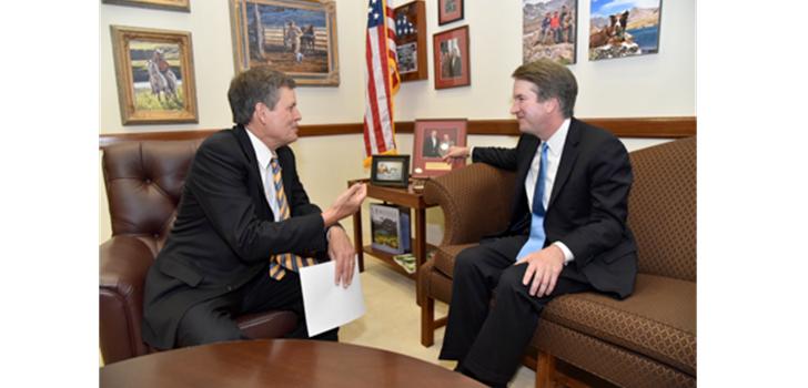 Sen. Steve Daines, left, talks to Judge Brett Kavanaugh, President Trump's nominee for the U.S. Supreme Court. courtesy of Sen. Daines' office.