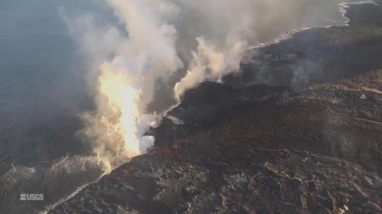 Lava is reforming the coastline of Hawaii's Big Island / USGS