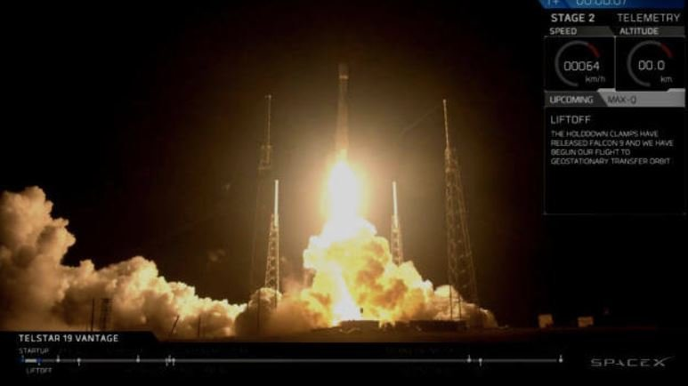 SpaceX Launches Telstar 19 Vantage Communications Satellite Into Space