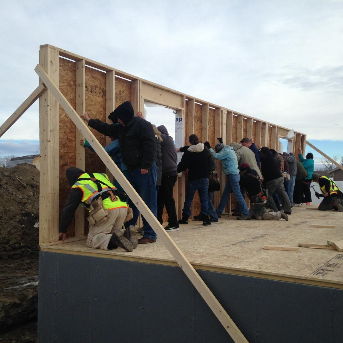 Habitat for Humanity wall raising