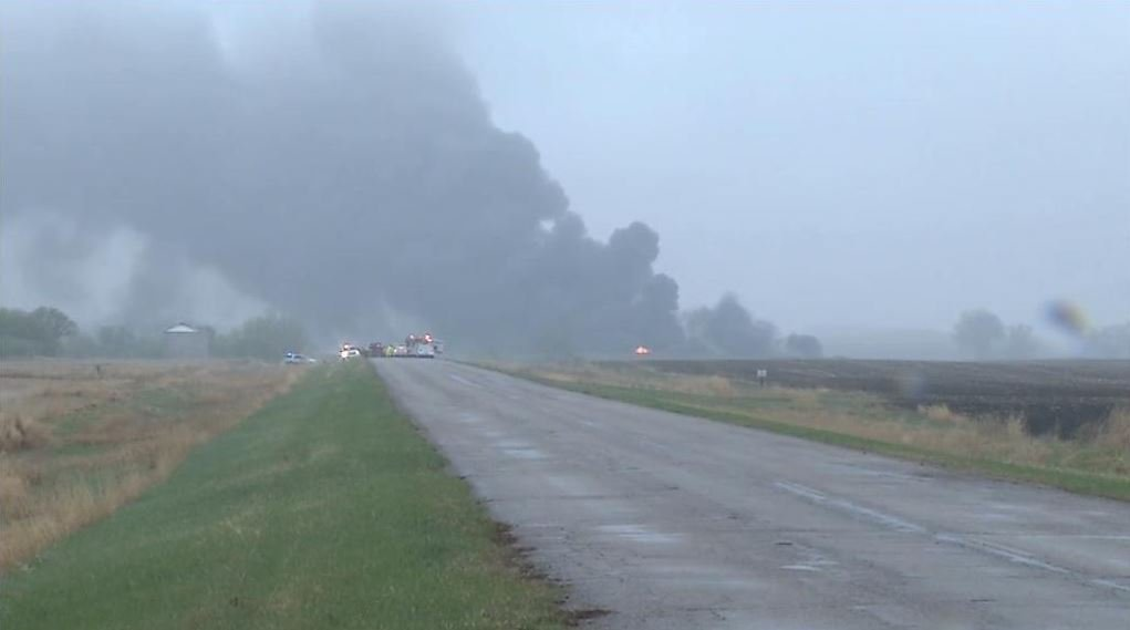CBS Newspath Chicago posted this photo of a huge plume of smoke from N.D. oil tanker derailment