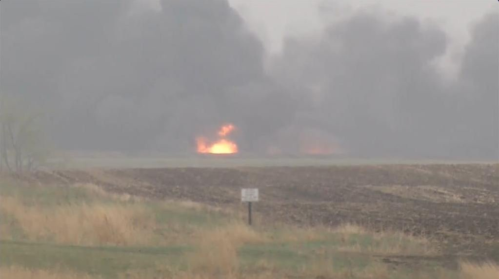 ANother photo of the N.D. oil tanker derailment from CBS Newspath