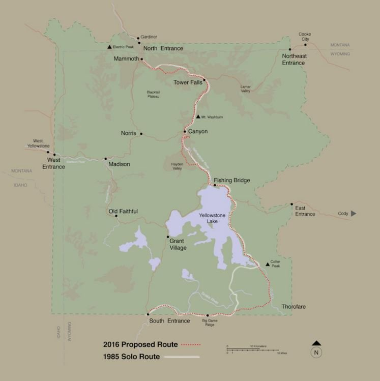 A map of Yellowstone shows the route of Murphy\'s 1985 trek and the route of the proposed trek that begins Saturday.