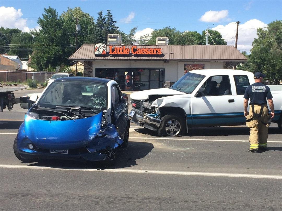 Crash on Grand Avenue smashes smart car truck  KTVQcom  Q2